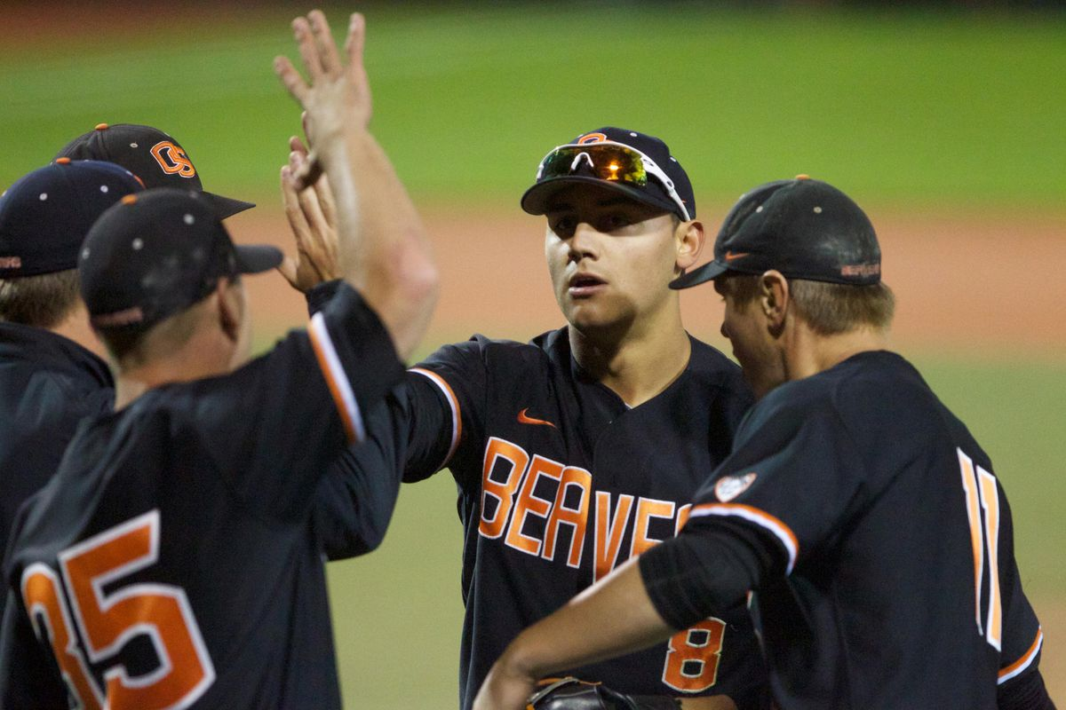 Michael Conforto Is Greeted By Teammates After Throwing Out A Wildcat Runner At Home Plate In The Eighth Inning
