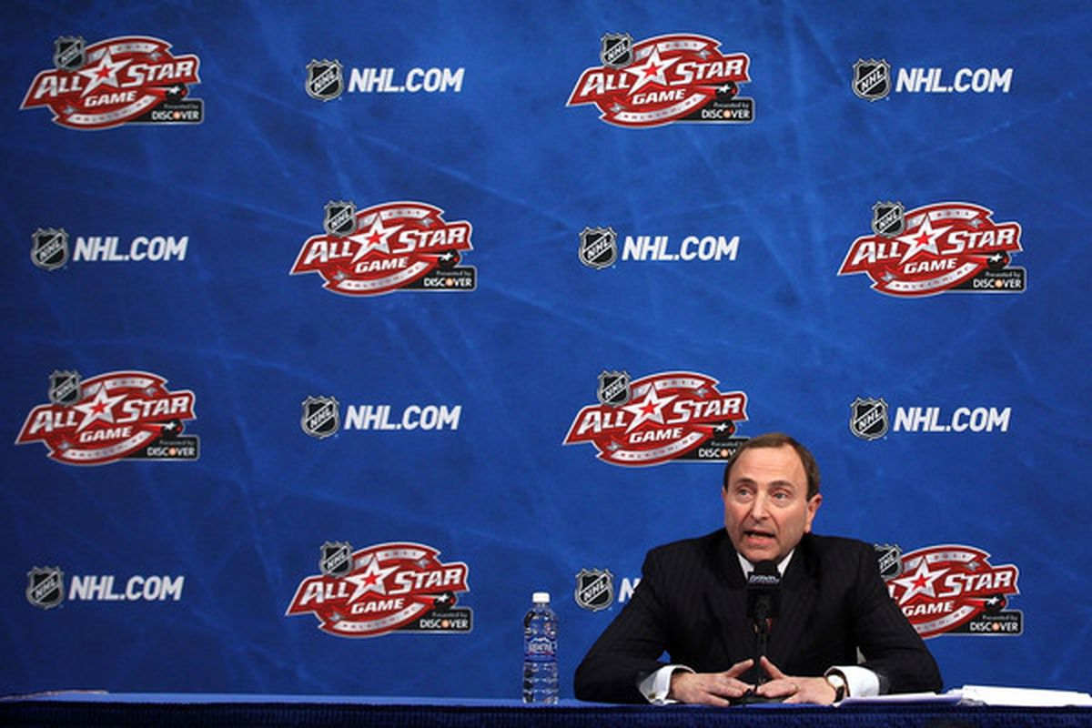 RALEIGH NC - JANUARY 29:  NHL Commissioner Gary Bettman speaks at a press conference during the 2011 NHL All-Star Weekend at the RBC Center on January 29 2011 in Raleigh North Carolina.  (Photo by Bruce Bennett/Getty Images)