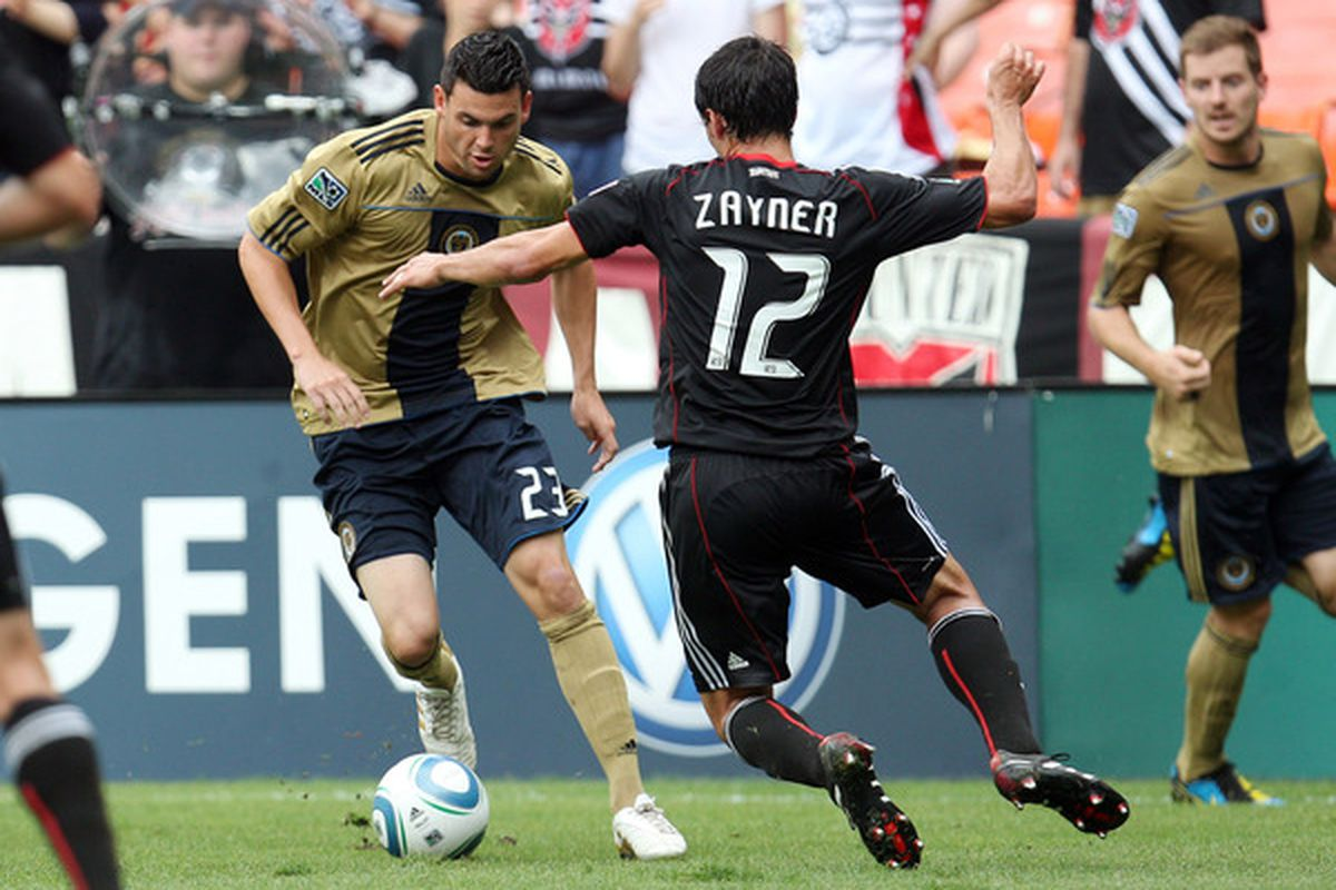 WASHINGTON - AUGUST 22: Nick Zimmerman #23 of Philadelphia Union controls the ball against Jed Zayner #12 of D.C. United at RFK Stadium on August 22 2010 in Washington DC. (Photo by Ned Dishman/Getty Images)