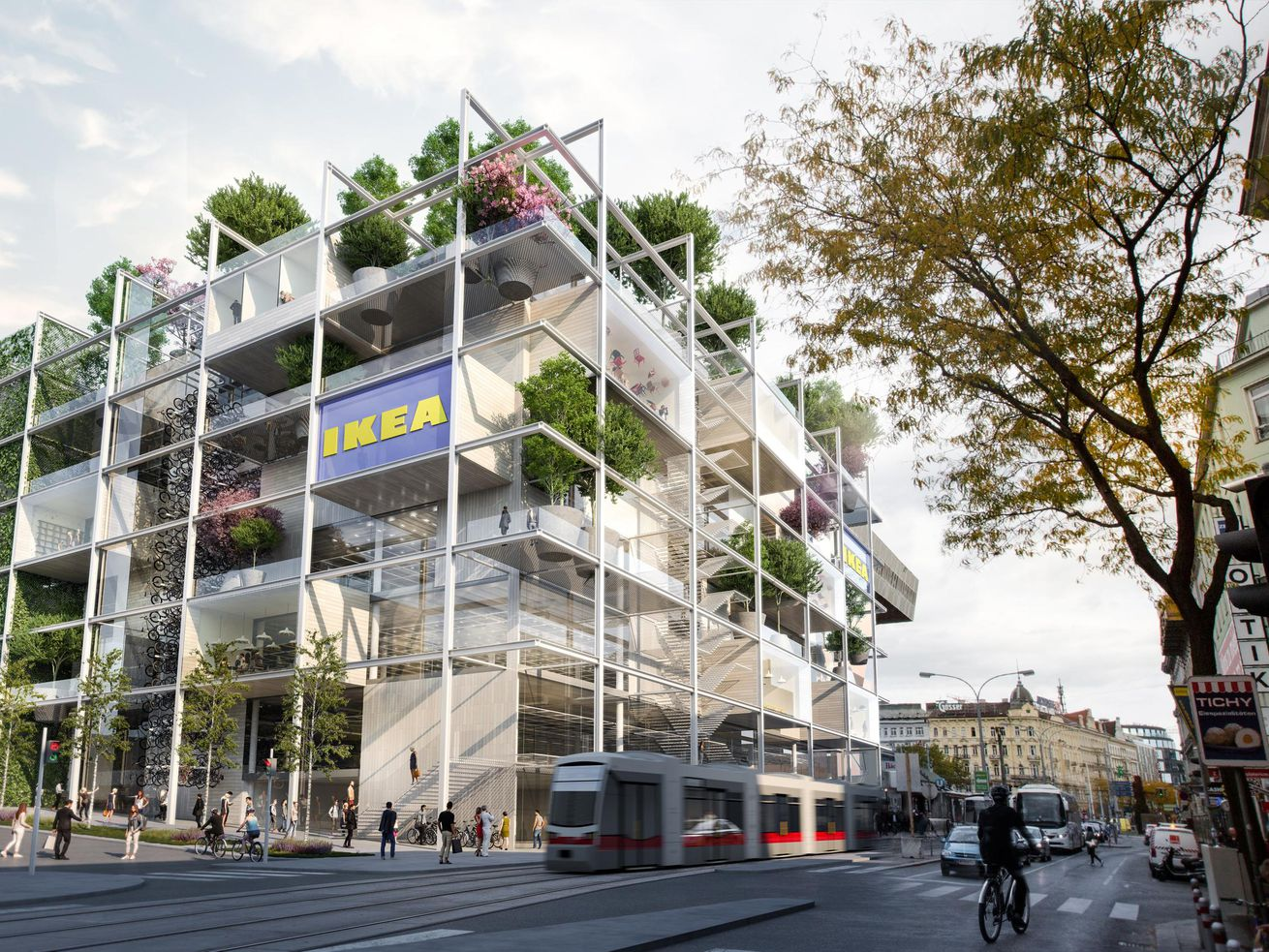 Ikea is building a city store with lots of trees and no parking