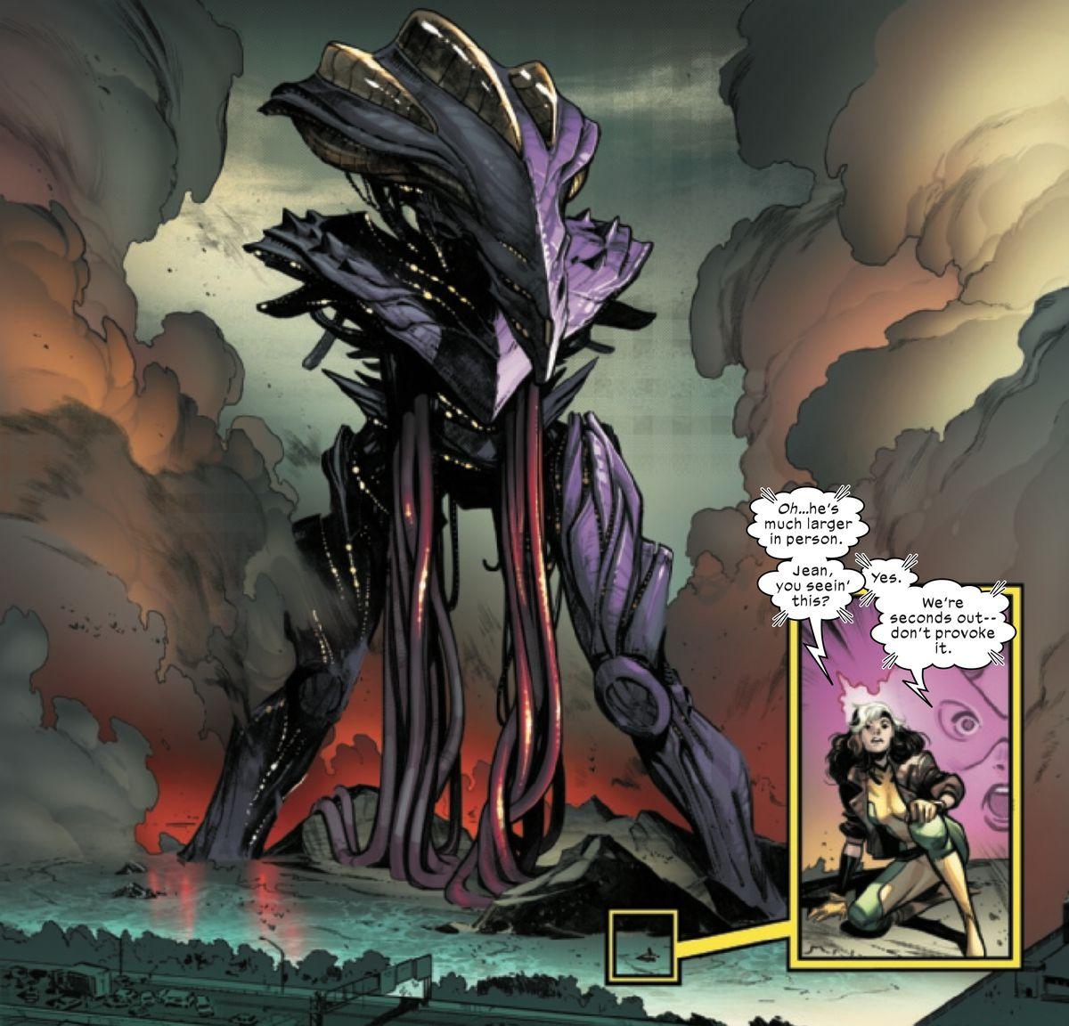 Rogue is a tiny figure, magnified in an inset panel, in front a huge, armored and tentacled monster that towers over a New York highway in X-Men #1 (2021).