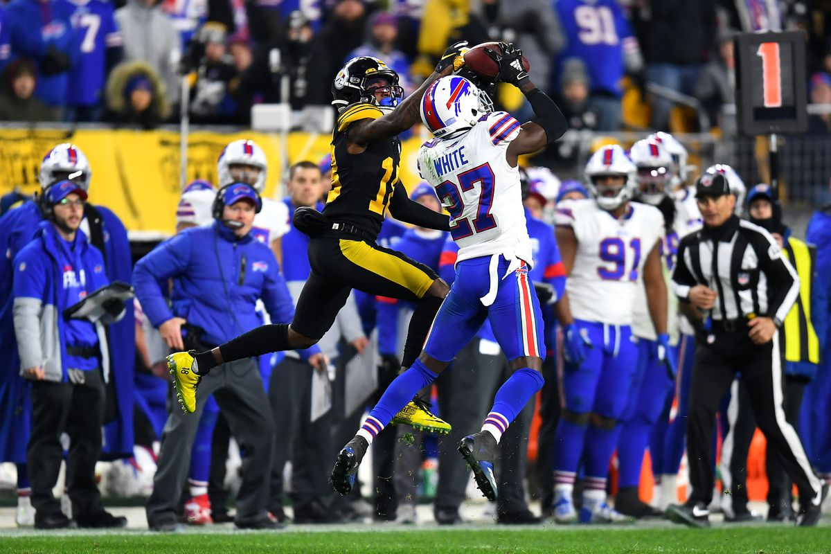 Tre'Davious White of the Buffalo Bills intercepts a pass during the third quarter against the Pittsburgh Steelers in the game at Heinz Field on December 15, 2019 in Pittsburgh, Pennsylvania.