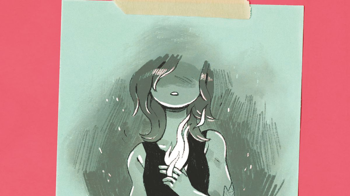 The book cover of Noelle Stevenson's The Fire Never Goes Out, with a sketched black-and-white image of a girl with a flame bursting from the center of her chest, and her eyeless head fuzzing out into a wash of grey at the top.