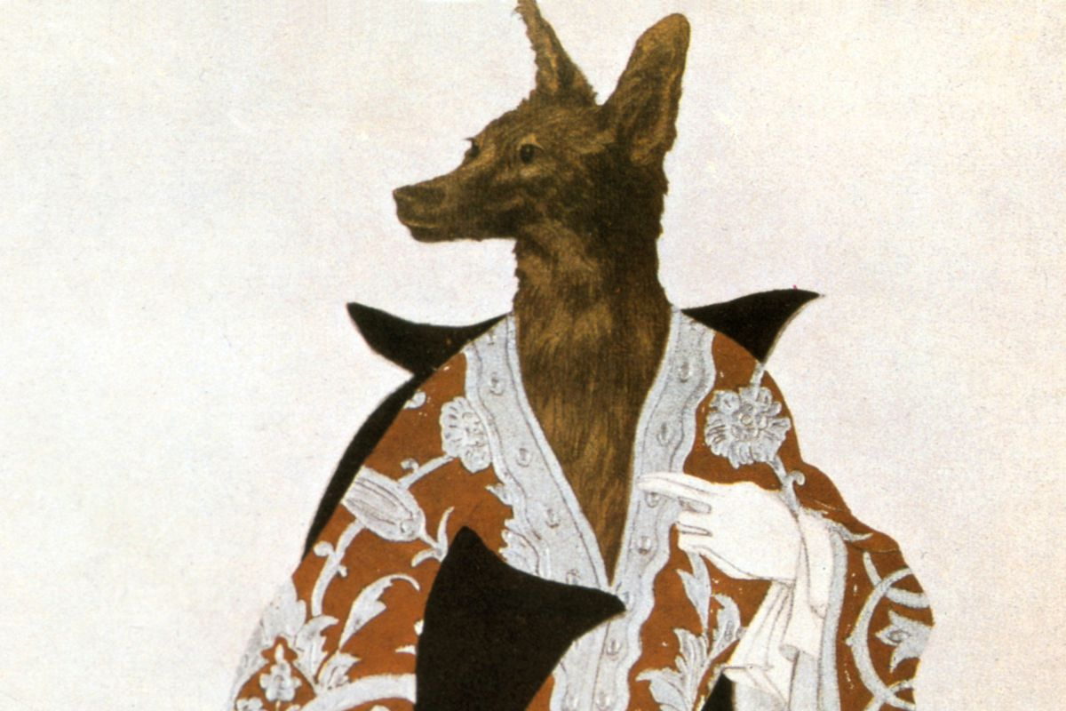 Costume design by Leon Bakst (1866-1924) Russian theatre and ballet designer, for the Wolf in 'The Sleeping Beauty' music by Tchaikovsky. Choreography by Marius Petipa. Produced in 1921 by Sergei Diaghilev's Ballets Russes. ...