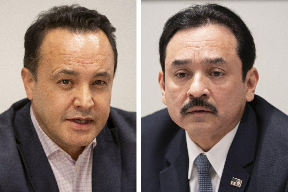 "Ald. George Cardenas (12th), left, in 2019; state Sen. Antonio ""Tony"" Munoz, right, in January"