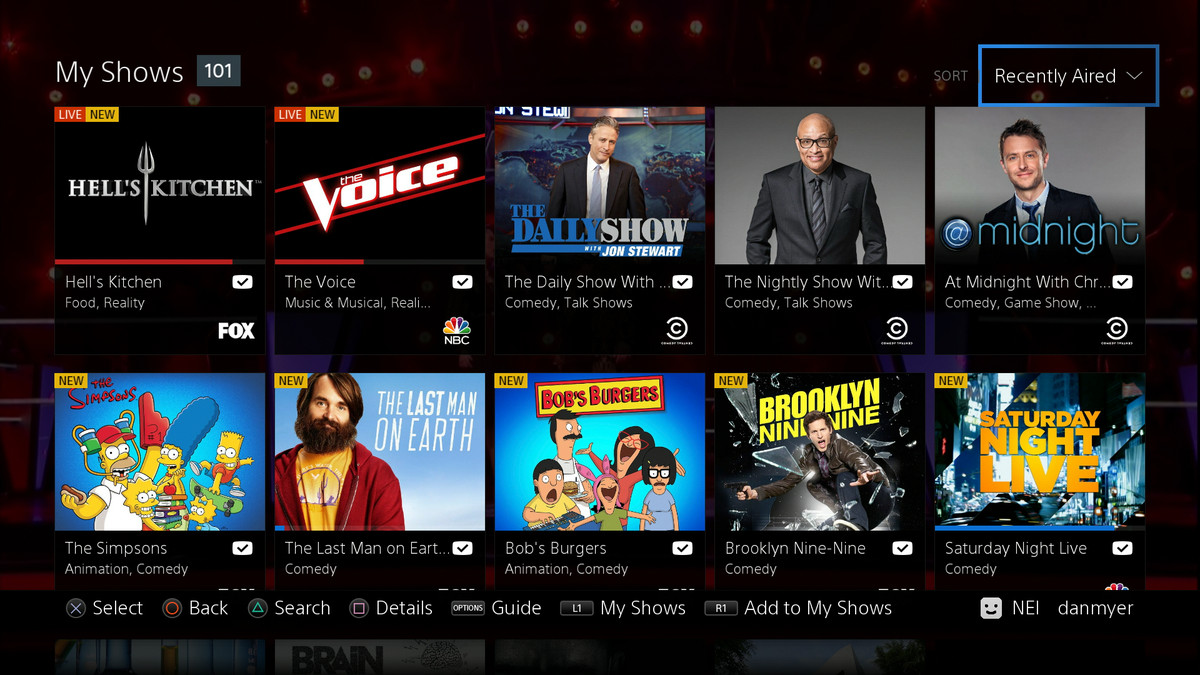 PlayStation Vue My Shows