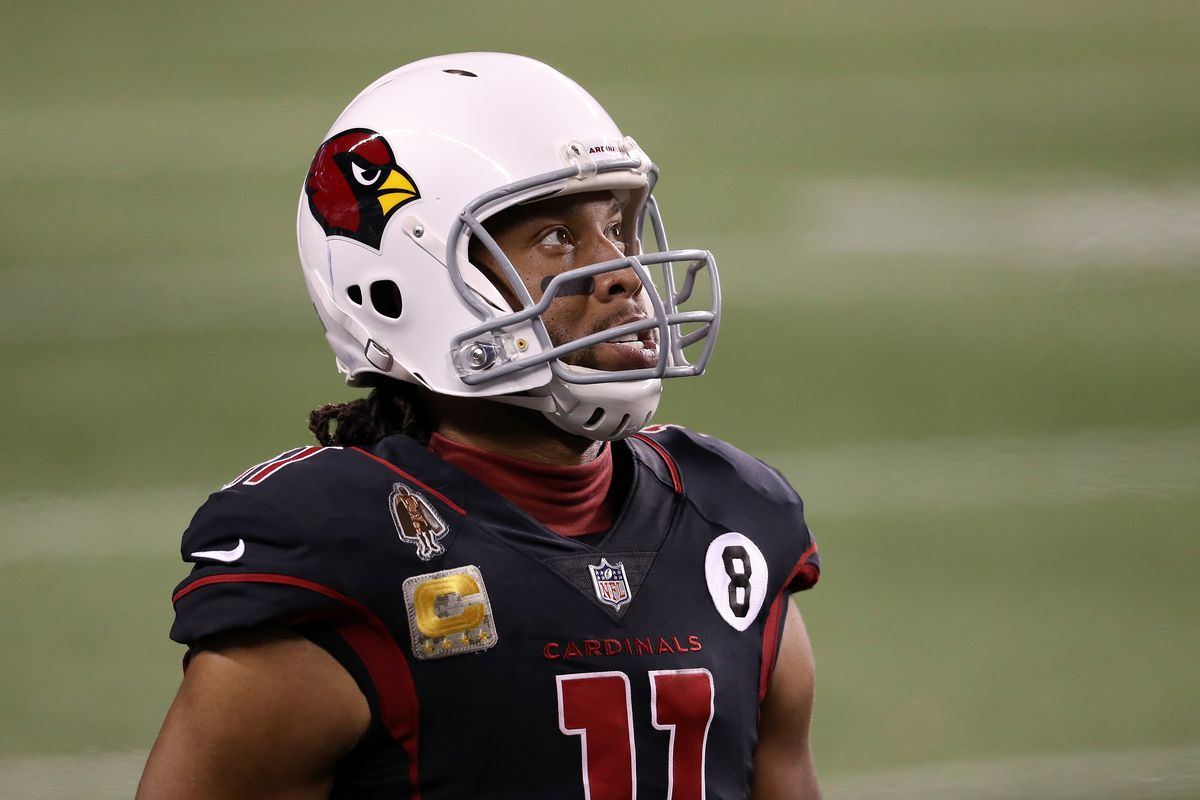 Larry Fitzgerald of the Arizona Cardinals stands on the side of the field during their game against the Seattle Seahawks at Lumen Field on November 19, 2020 in Seattle, Washington.