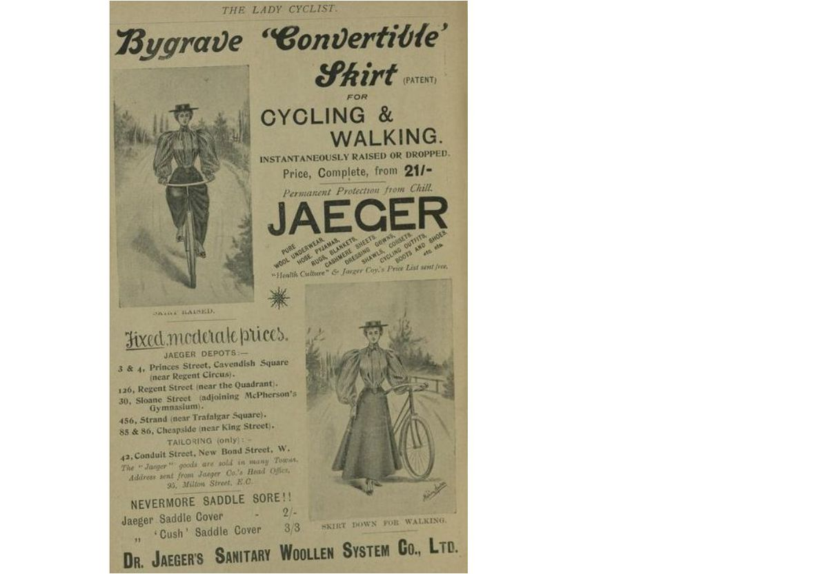 A full page advertisement for Bygrave's skirt from the March 1896 edition of The Lady Cyclist
