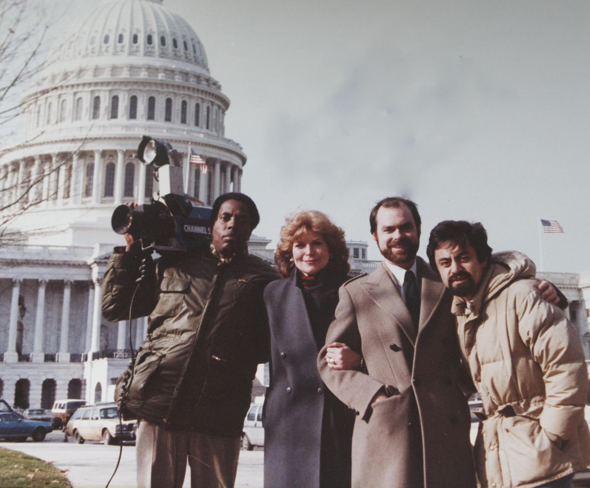 Jim Stricklin (left, with camera) with WMAQ-TV colleagues Carol Marin, producer Don Moseley and engineer Silvio Costales in 1984 in Washington, D.C.