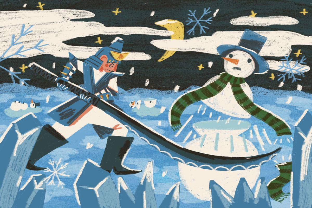 An original illustration shows a warrior fighting a snowman