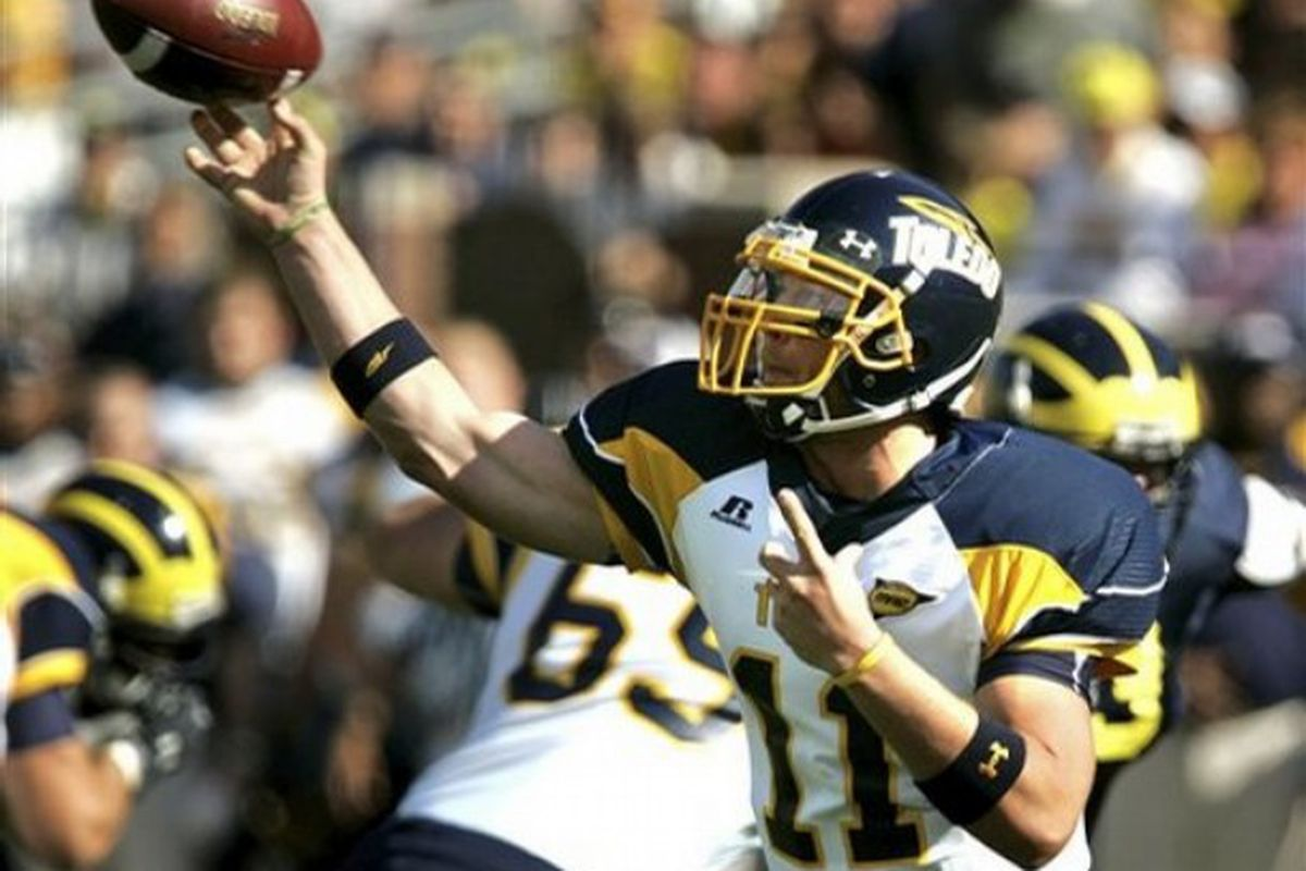 Toledo quarterback Aaron Opelt had an impressive day for the Rockets, albeit in defeat. Opelt threw for 423 yards and 3 touchdowns against the Purdue Boilermakers this past Saturday on the road.