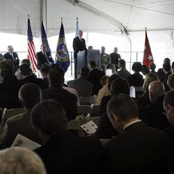 Sen. Orrin Hatch speaks at the groundbreaking for the first Intelligence Community Comprehensive National Cybersecurity Initiative (CNCI) Data Center at Camp Williams, Utah on Thursday, Jan. 6, 2011.