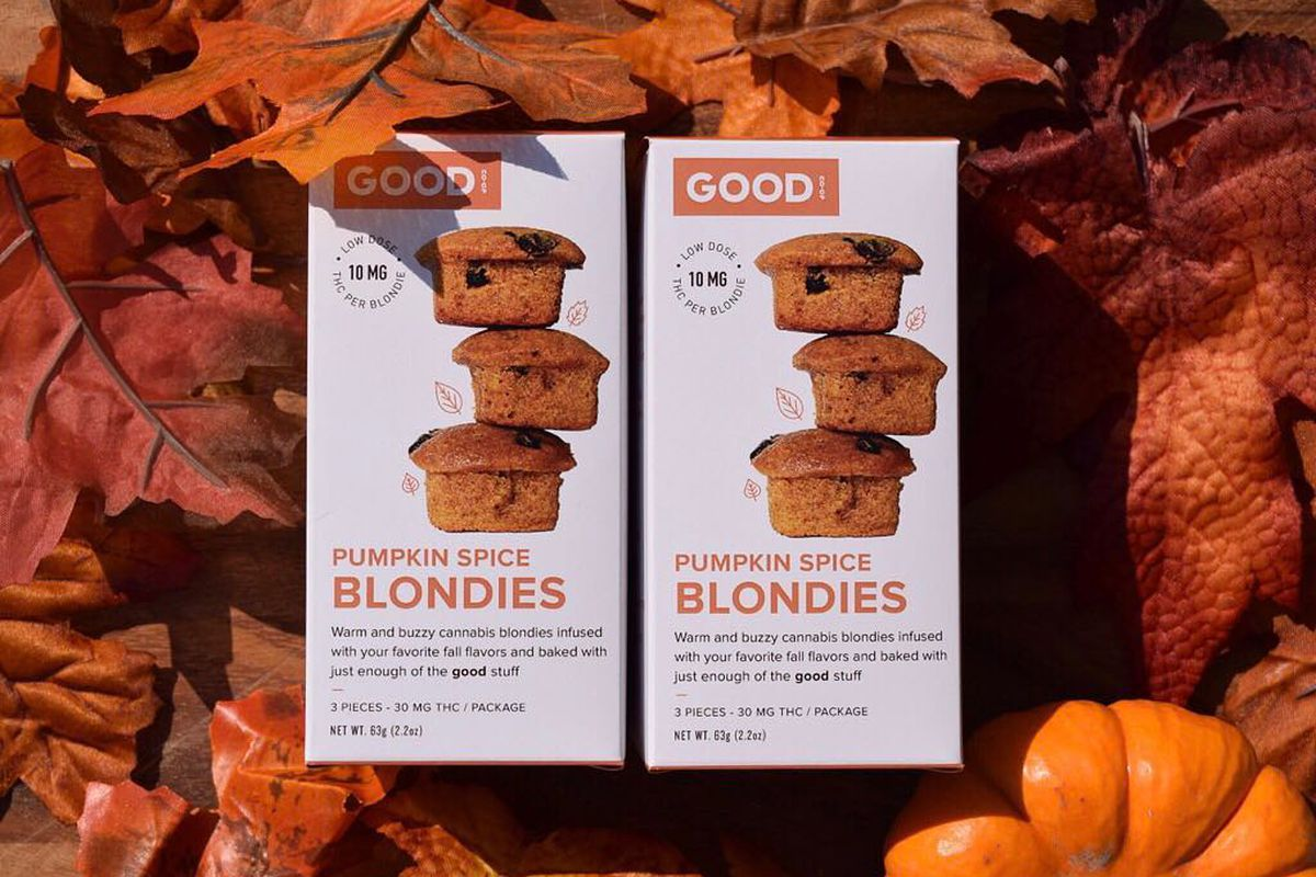 Two boxes of pumpkin spice, weed-infused blondies.