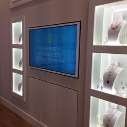 A large touch-screen TV allows patrons to custom-design their own Kendra Scott creations. After a piece of jewelry and stones are chosen, Kendra Scott employees make your design before your eyes—sometimes, in as little as five minutes.