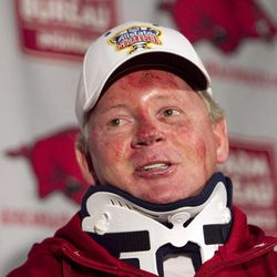 FILE - In this April 3, 2012, file photo, Arkansas football coach Bobby Petrino speaks during a news conference in Fayetteville, Ark., after being released from a hospital after he was injured in a motorcycle accident. A person familiar with the situation says Petrino is out as coach at Arkansas. The person spoke to The Associated Press on the condition of anonymity, and the university has scheduled a Tuesday evening, April 10, 2012, news conference with athletic director Jeff Long.