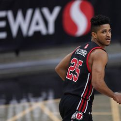 Utah guard Alfonso Plummer looks at the bench for direction late in the second half of an NCAA college basketball game against Colorado, Saturday, Jan. 30, 2021, in Boulder, Colo. (AP Photo/David Zalubowski)