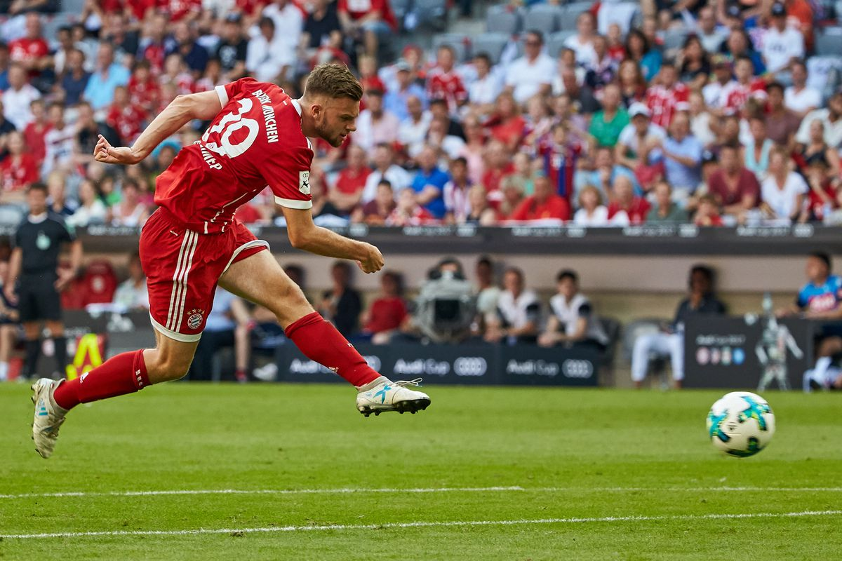 Manuel Wintzheimer of Bayern Muenchen in action during the Audi Cup 2017 match between SSC Napoli and FC Bayern Muenchen at Allianz Arena on August 2, 2017 in Munich, Germany.