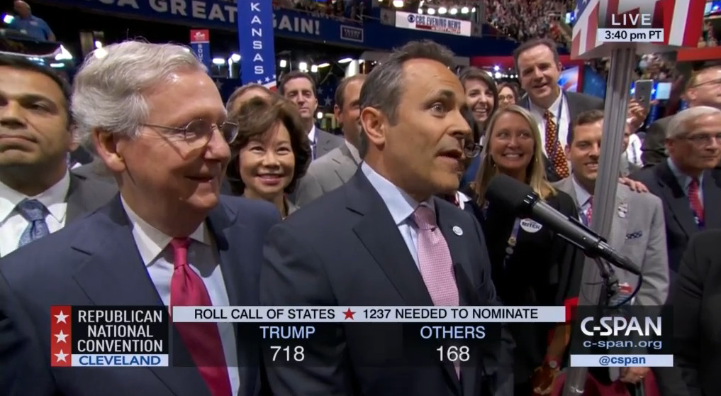 Kentucky Gov. Matt Bevin at the convention, with Sen. Mitch McConnell