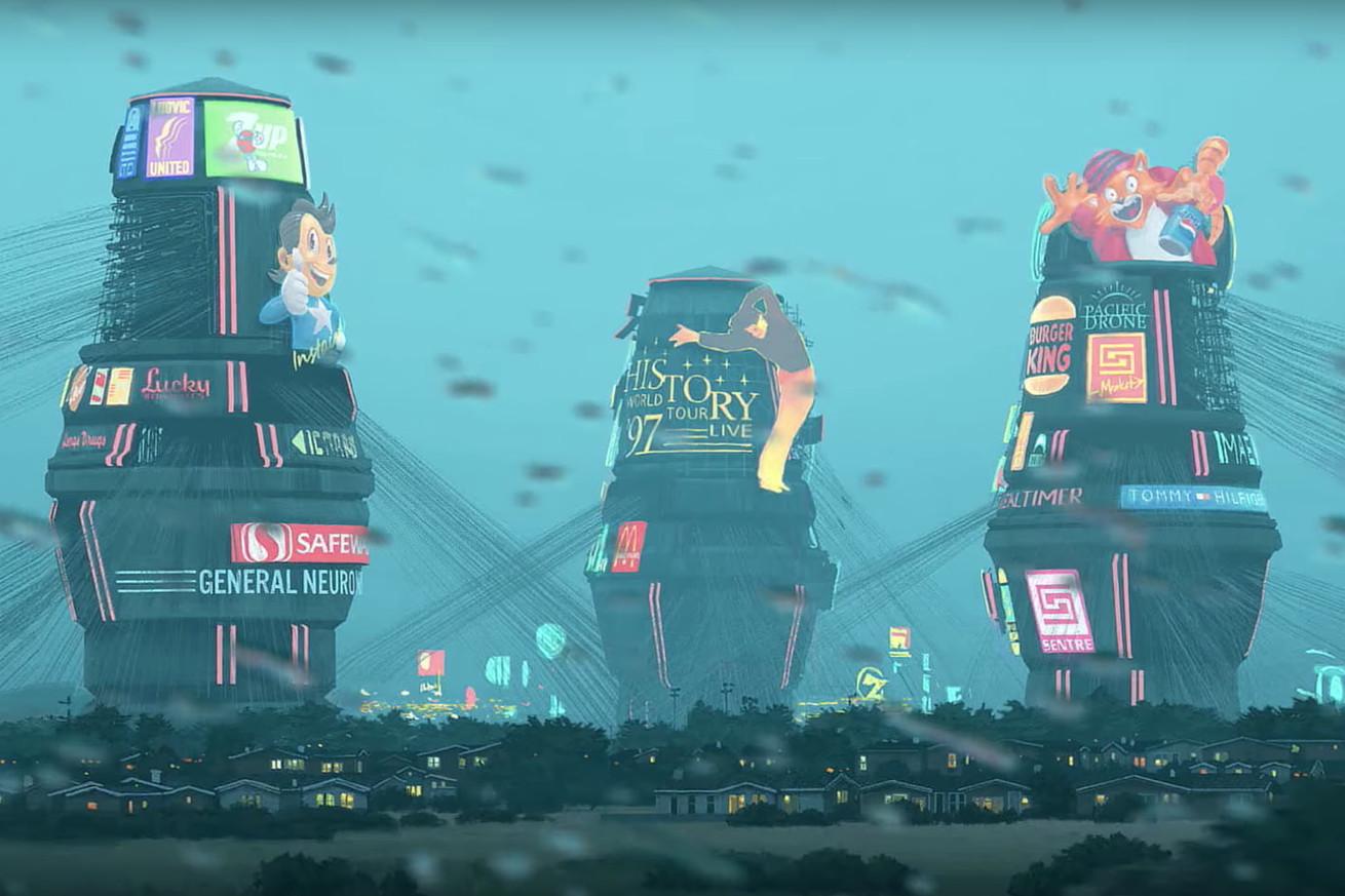 Three futuristic towers against a rainy sky