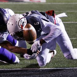 Southern Utah Thunderbirds wide receiver Cameron Chambers is defended on a pass play at the goal line by Weber State Wildcats cornerback Xequille Harry during NCAA football in Cedar City on Saturday, Dec. 2, 2017.