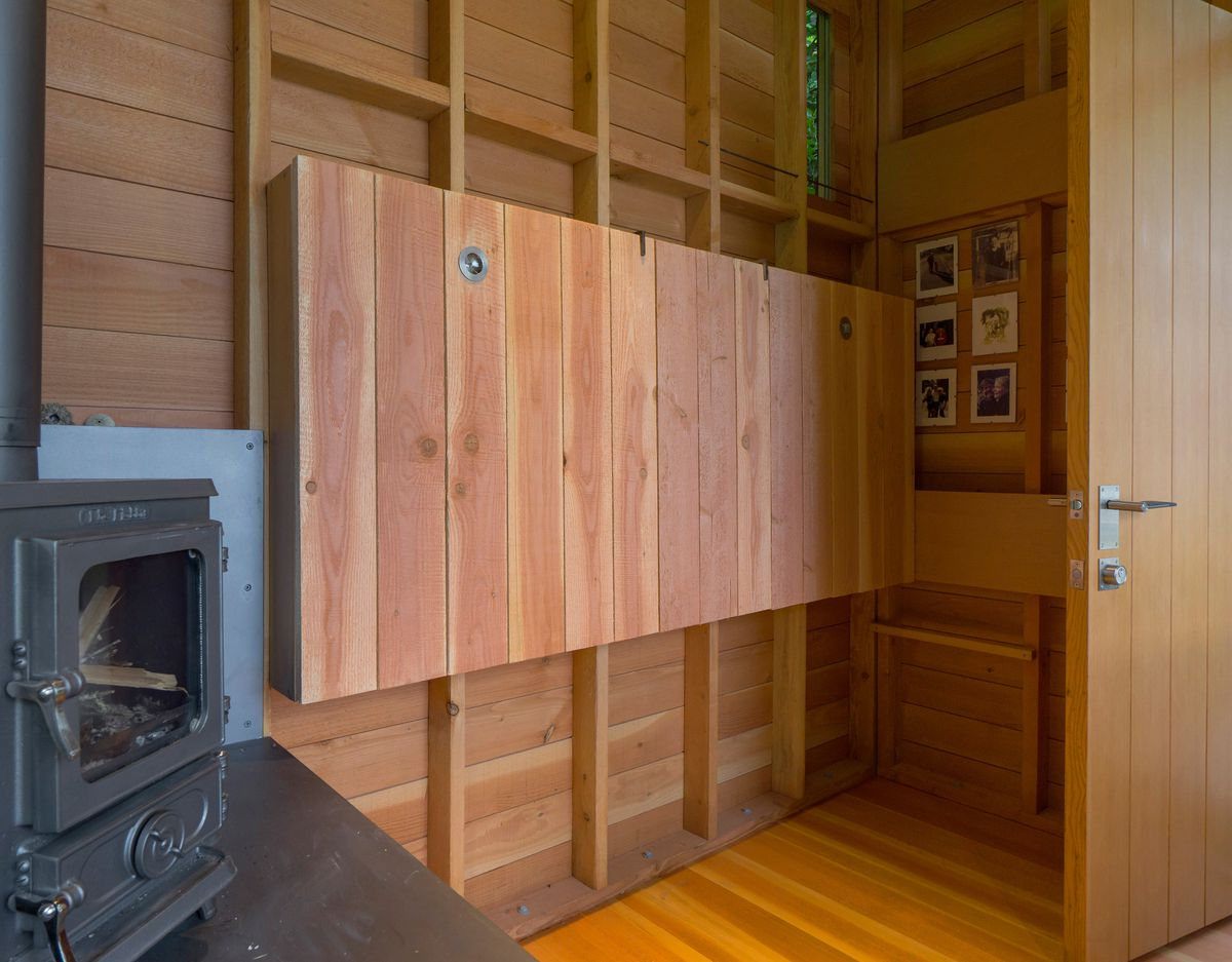Bunkbed folded up against wall