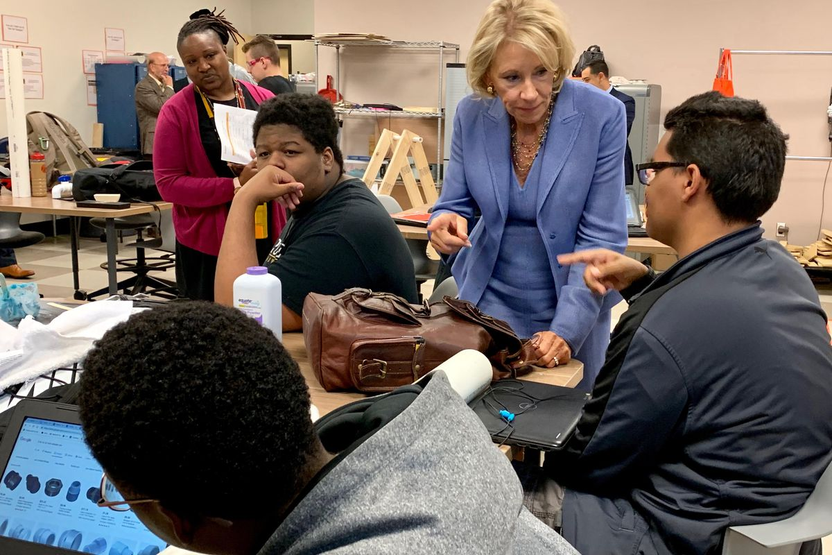 U.S. Secretary of Education Betsy DeVos talks to students at Purdue Polytechnic High School in Indianapolis on Sept. 17, 2019.