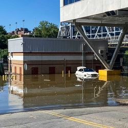 A flooded parking lot in Marble Hill. Sept. 2, 2021.