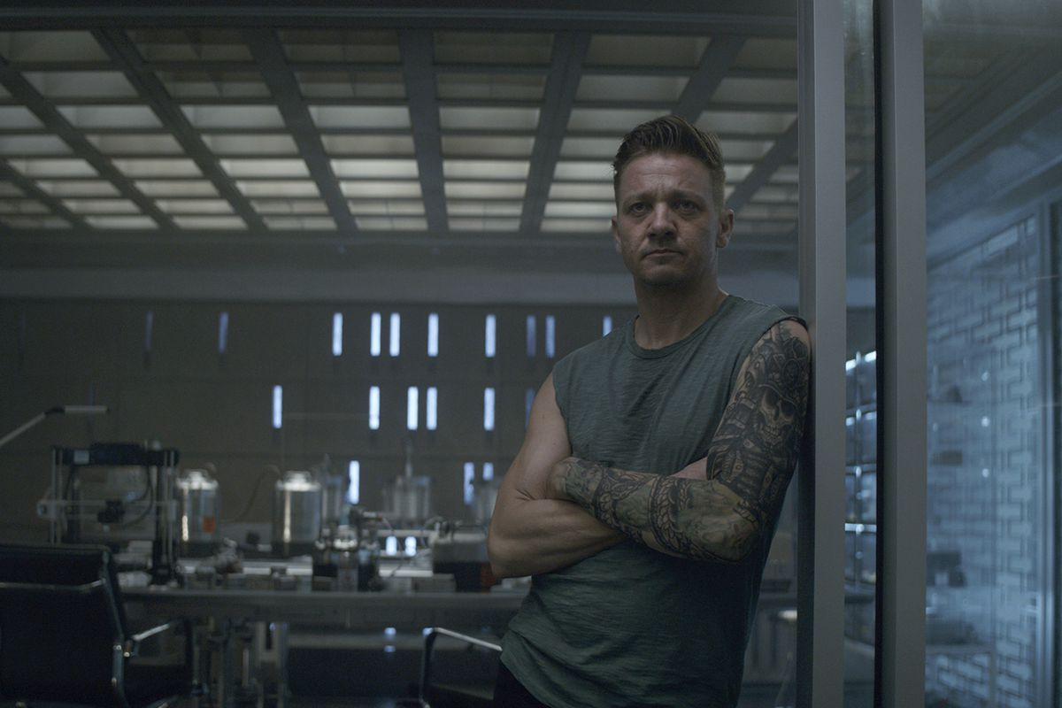 """Hawkeye/Clint Barton (Jeremy Renner) in a scene from Marvel Studios' Avengers: Endgame. he global box office has a new king in """"Avengers: Endgame."""" The superhero extravaganza the weekend of July 20 has usurped """"Avatar"""" to become the highest grossing film"""