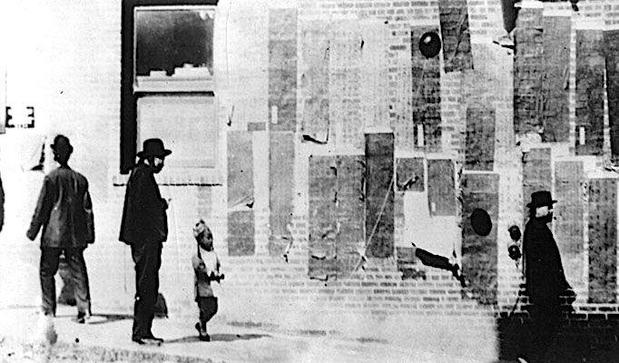 """Dead Wall Bulletin Board"" for Tong grievances on Dupont Street at Washington, circa 1889."