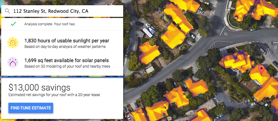 How much sun hits the roof in Redwood City