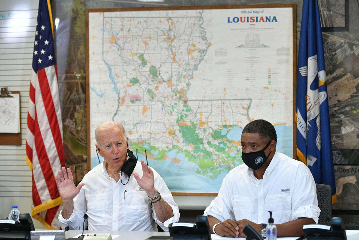 US President Joe Biden speaks during a Friday briefing with local leaders on the impact of Hurricane Ida.