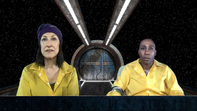 "Julie Proudfoot (left) and Shariba Rivers star as two intergalactic trash collectors on a mysterious mission in Artemesia Theatre's virtual world premiere production of ""Goods."""