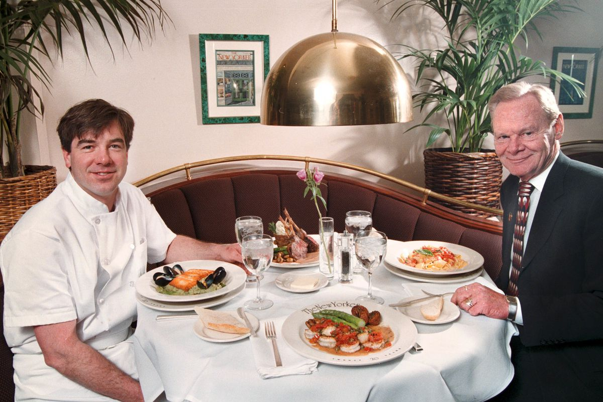 Chef Wil Pliler, left, and Tom Sieg at the New Yorker Restaurant in 1998.