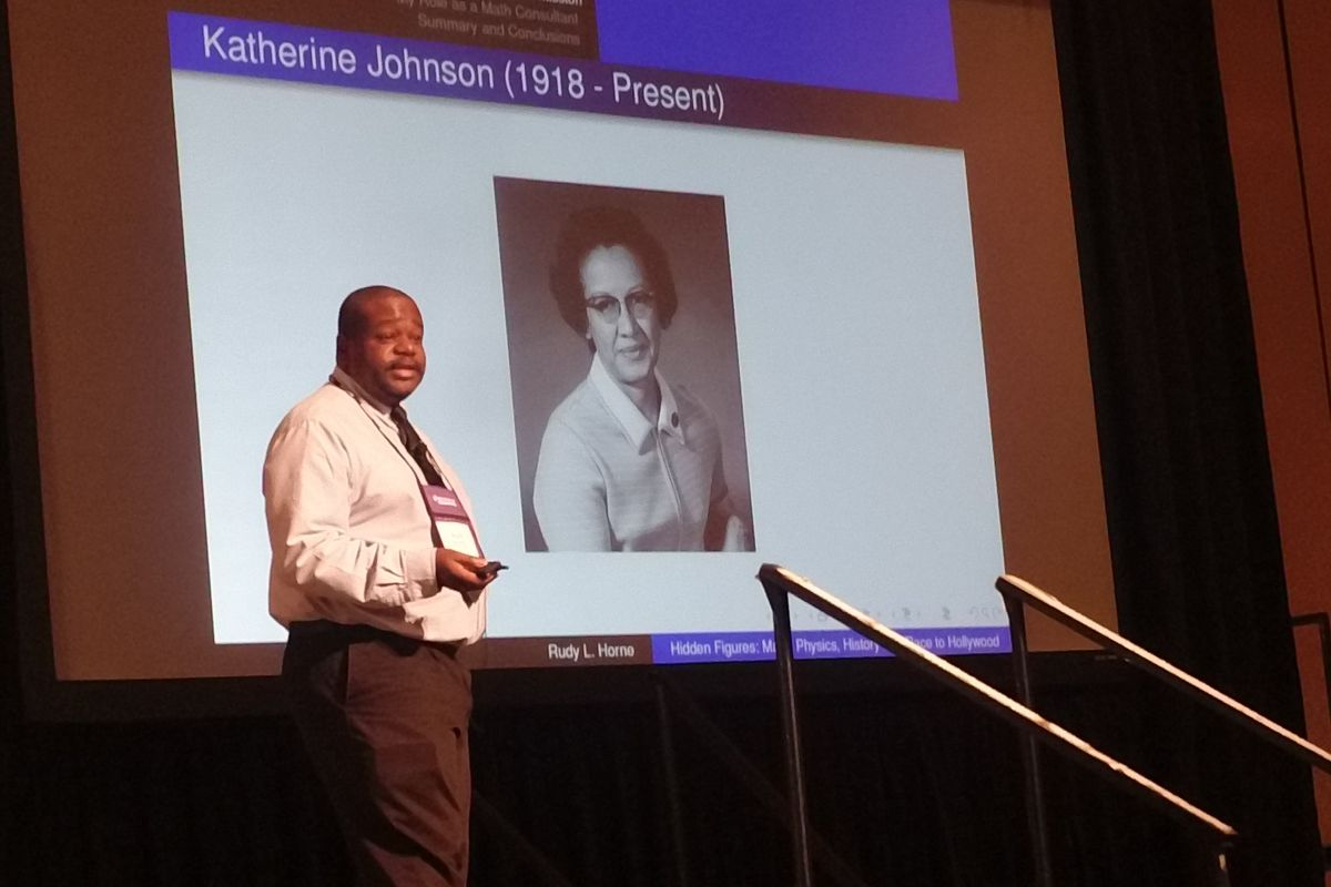 Morehouse professor Rudy L. Horne discusses mathematician Katherine Johnson, an African-American leader in the early days of NASA's space program. | Edray H. Goins / Purdue University