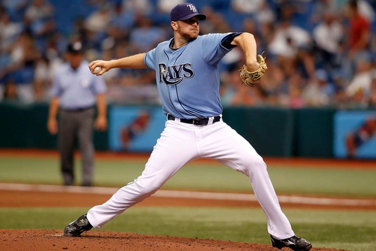 ST PETERSBURG, FL - MAY 02:  Pitcher Wade Davis #40 of the Tampa Bay Rays pitches against the Kansas City Royals during the game at Tropicana Field on May 2, 2010 in St. Petersburg, Florida.  (Photo by J. Meric/Getty Images)