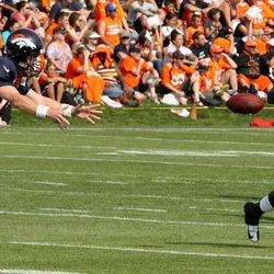 Peyton Manning pitches to rookie running back Montee Ball during the third day of Broncos training camp.