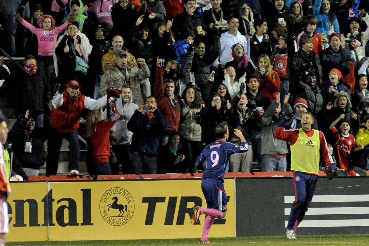 October 19, 2013 - Mike Magee celebrates the penalty-kick goal which gave the Fire their last win in league play.