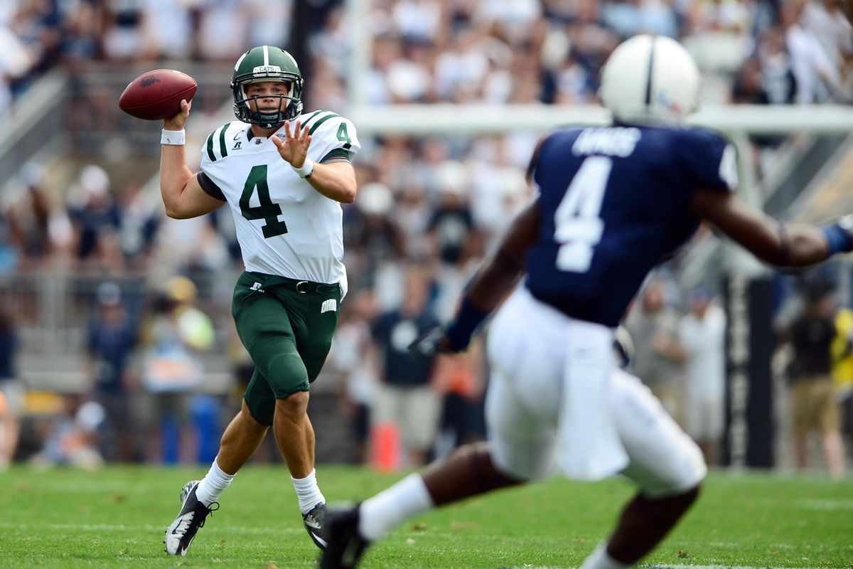 Sep 1, 2012; University Park, PA, USA; Ohio Bobcats quarterback Tyler Tettleton (4) rolls out of the pocket to pass in the second quarter against the Penn State Nittany Lions at Beaver Stadium. Mandatory Credit: Andrew Weber-US Presswire