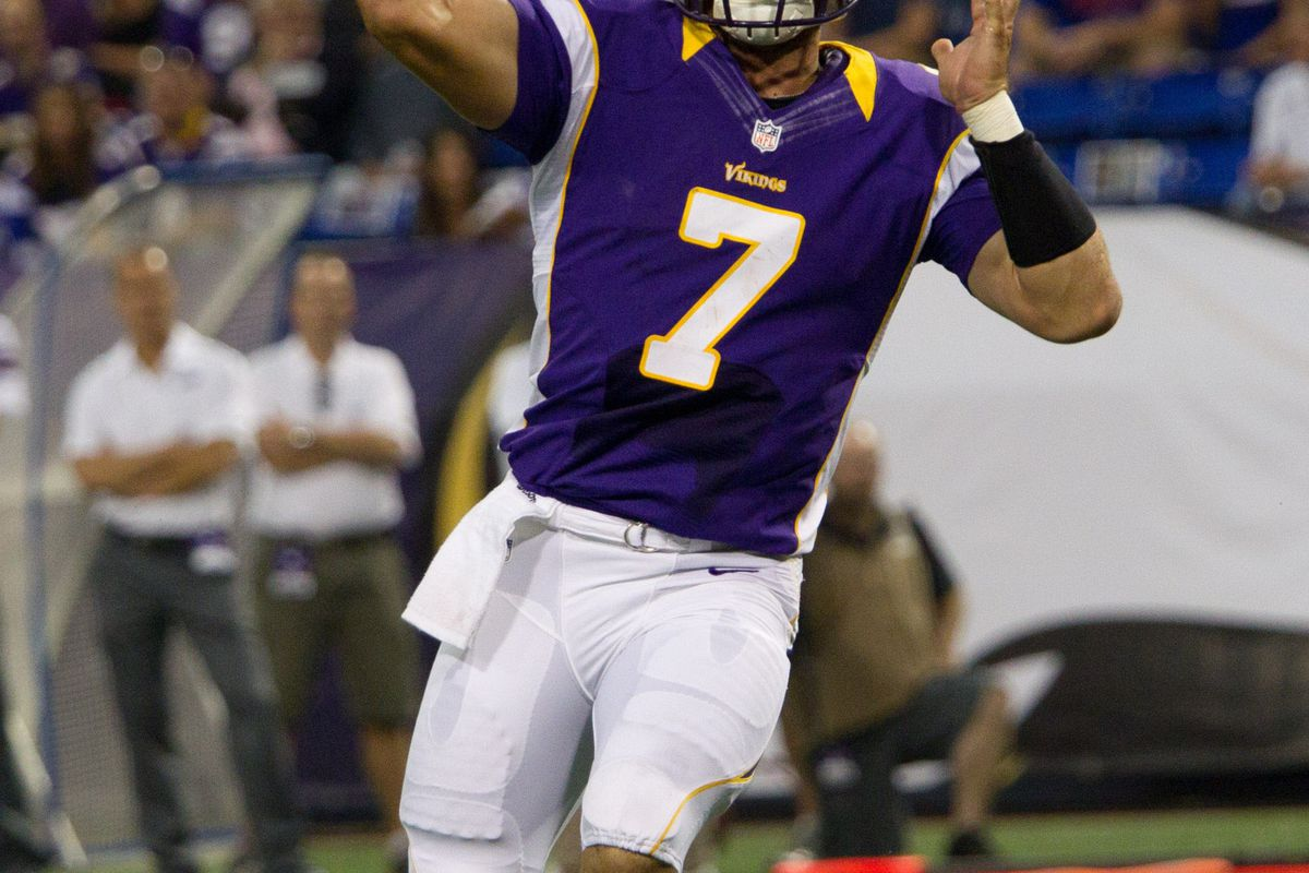 Aug 17, 2012; Minneapolis, MN, USA; Minnesota Vikings quarterback Christian Ponder throws a pass against the Buffalo Bills in the first quarter at the Metrodome. Mandatory Credit: Brad Rempel-US PRESSWIRE