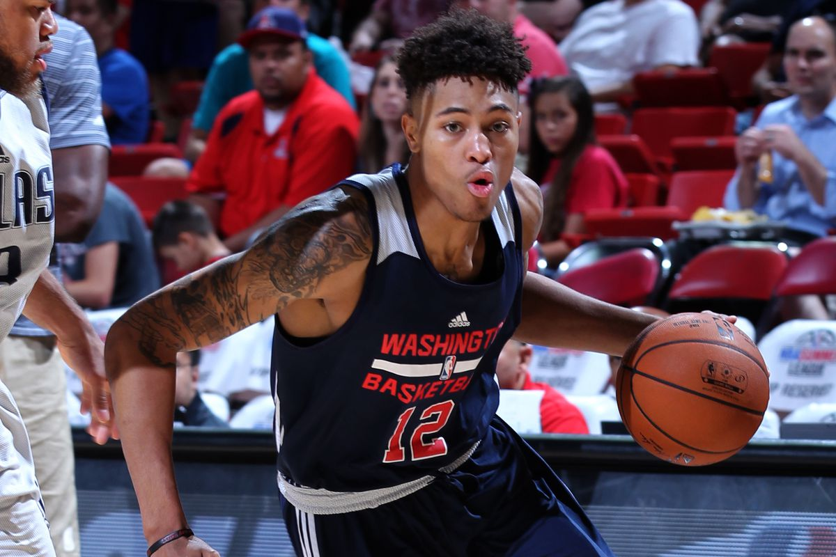 Kelly Oubre Jr. #12 of the Washington Wizards drives to the basket against the Dallas Mavericks on July 14, 2015 at the Thomas & Mack Center in Las Vegas, Nevada.