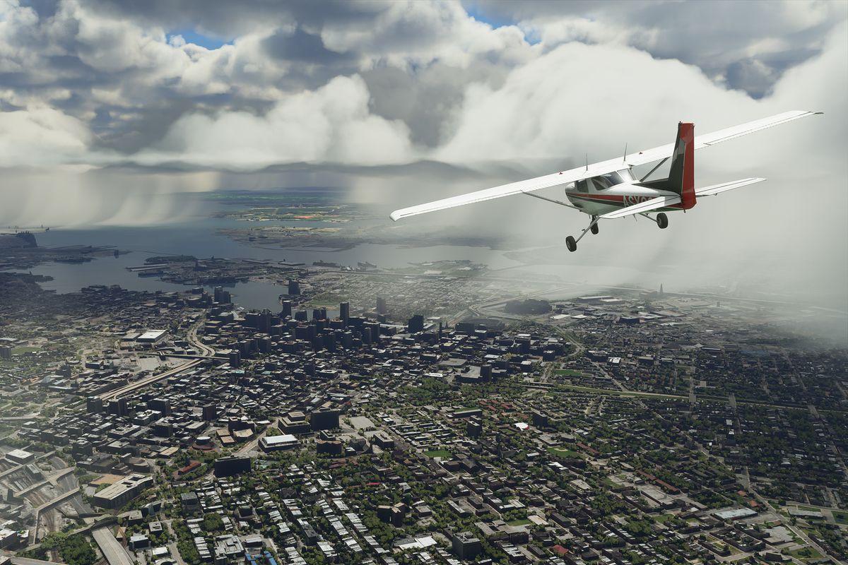 a plane flying over Baltimore toward the Chesapeake Bay in Microsoft Flight Simulator