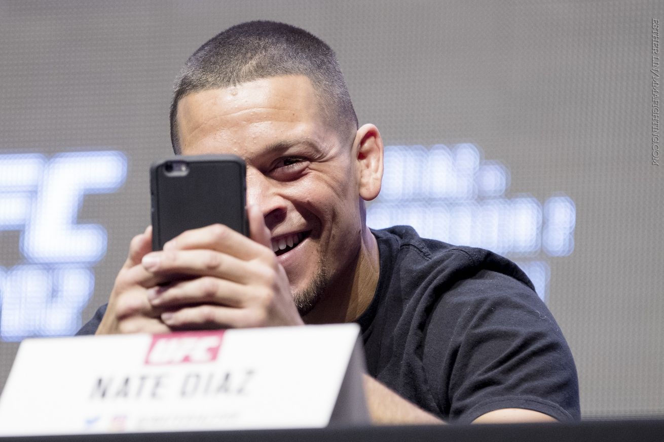 Nate Diaz clowns around at the UFC 202 press conference Thursday in Las Vegas.