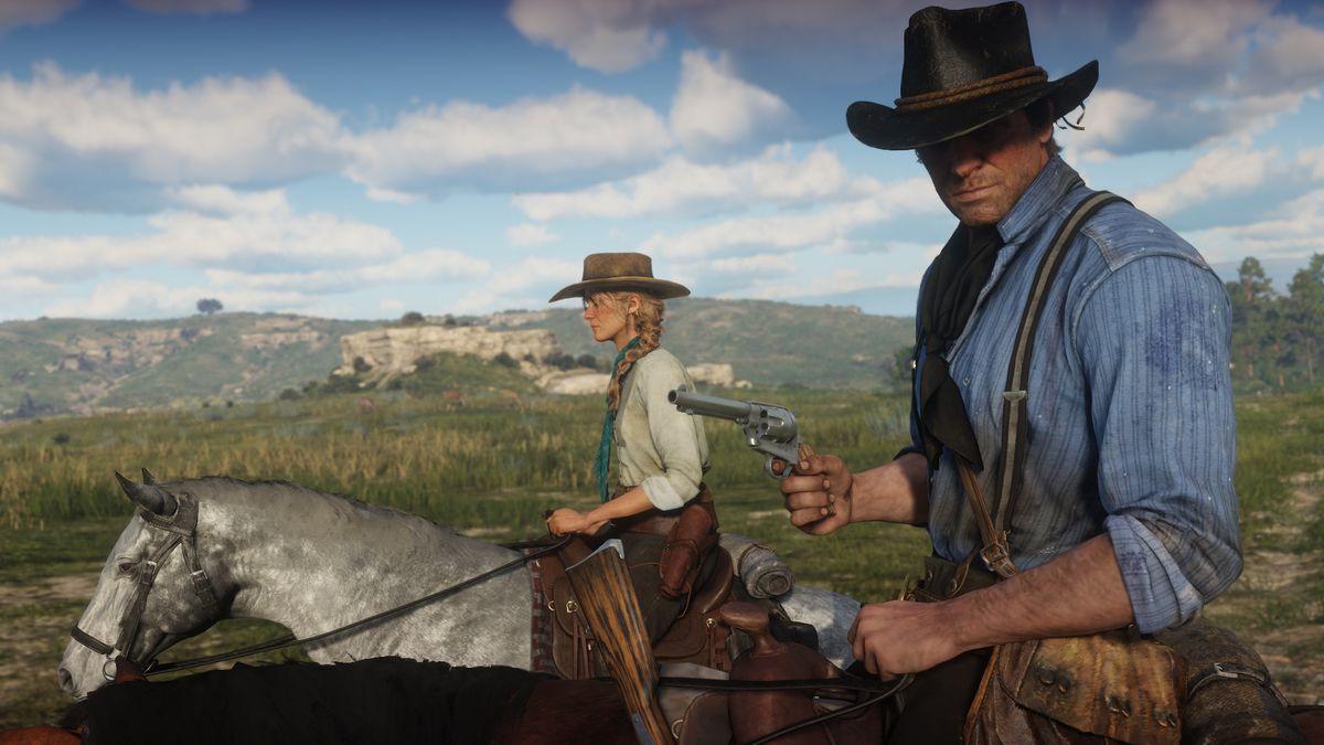Red Dead Redemption 2 - Sadie and Arthur on horseback