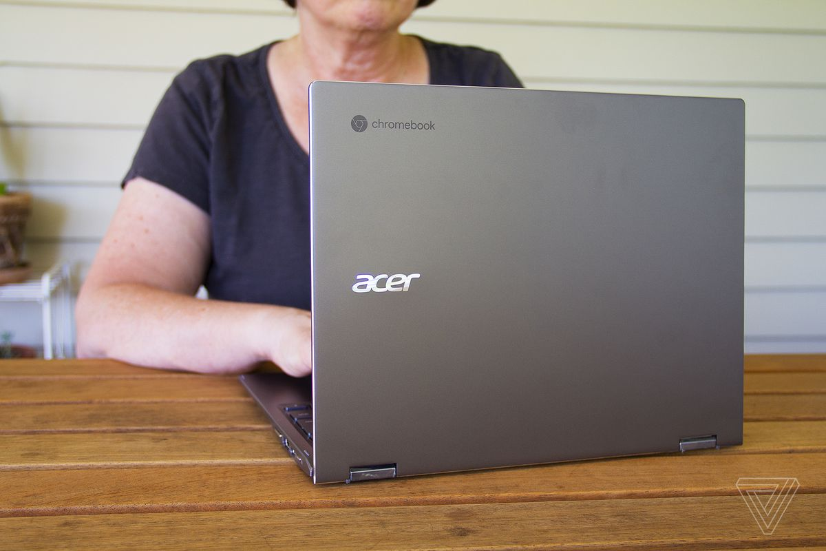 A user is typing on the Acer Chromebook Spin 713.