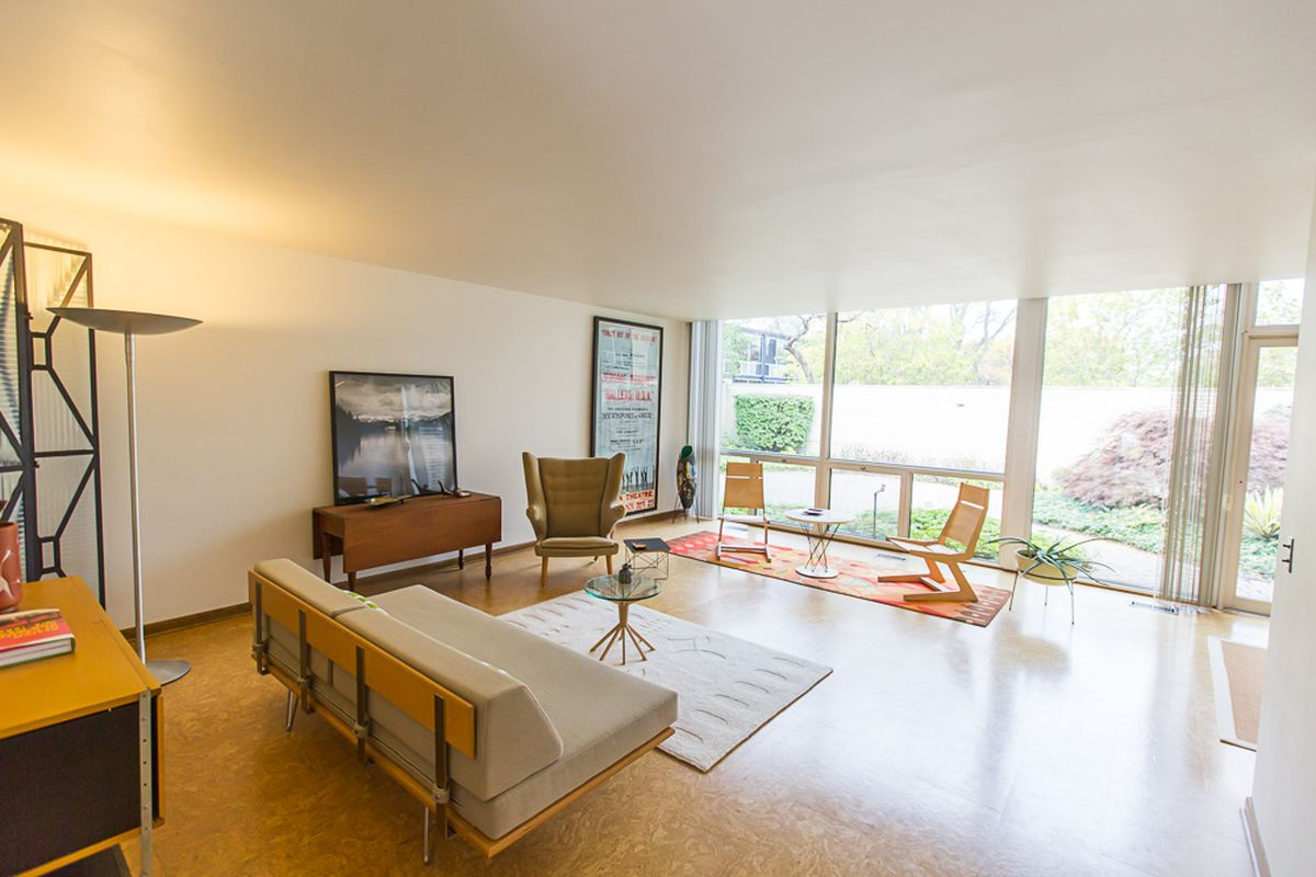 midcentury modern mies van der rohe courtyard unit aims for  600k