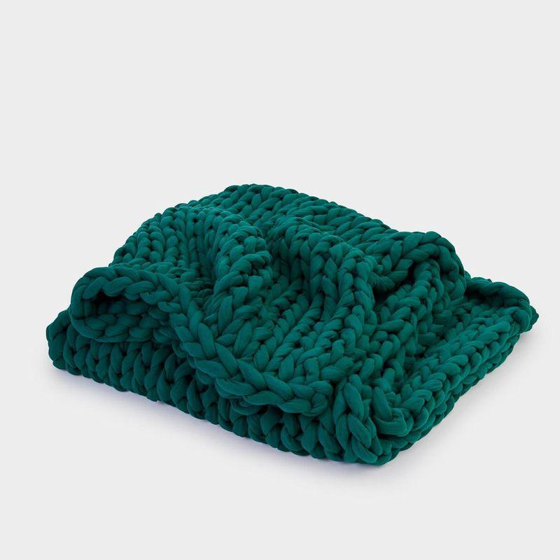 Folded woven green blanket.
