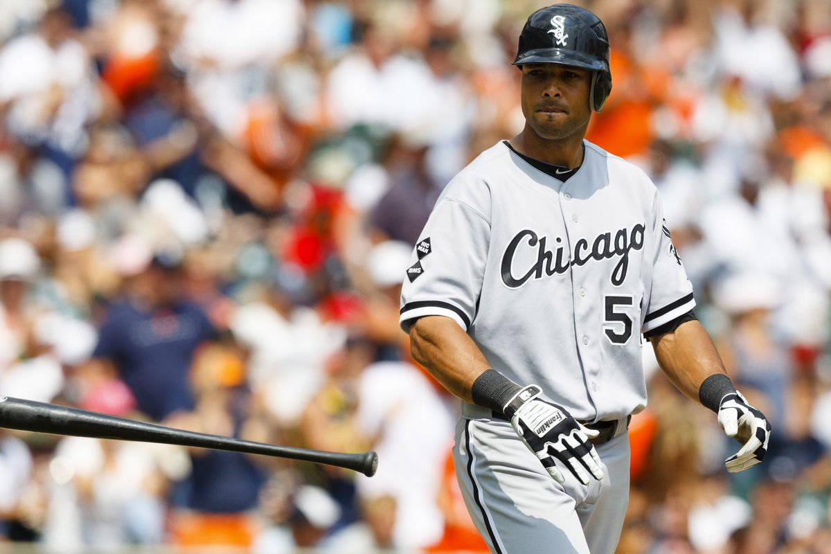 July 22, 2012; Detroit, MI, USA; Chicago White Sox right fielder Alex Rios (51) throws his bat after striking out during the seventh inning against the Detroit Tigers at Comerica Park. Mandatory Credit: Rick Osentoski-US PRESSWIRE