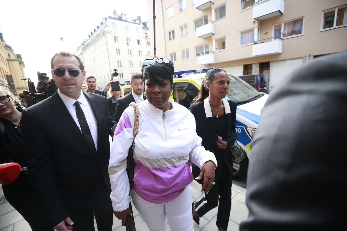 Renee Black, A$AP Rocky's mother, arrives at the district court in Stockholm, Sweden, on Tuesday.