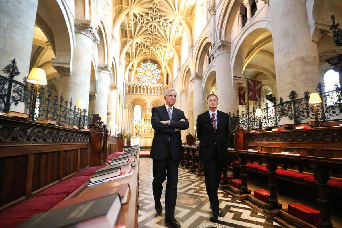 """FILE""""""""Elder D. Todd Christofferson, of the Quorum of the Twelve Apostles of The Church of Jesus Christ of Latter-day Saints, gets a tour from Philip Tootill at Christ Church, Oxford University Cathedral prior to speaking in Oxford, England on Thursd"""