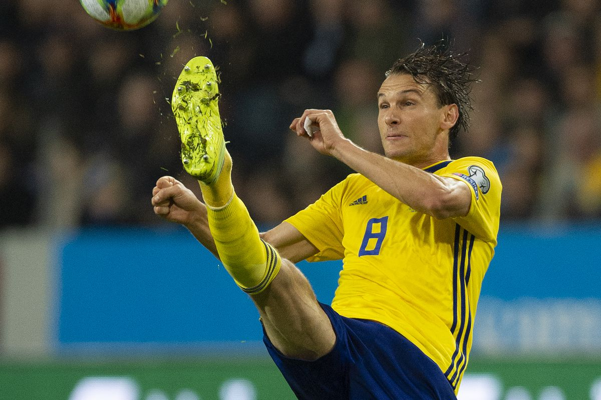Albin Ekdal of Sweden during the UEFA Euro 2020 qualifier between Sweden and Spain at Friends arena on October 15, 2019 in Solna, Sweden.